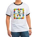 Square Autism Puzzle Ribbon Ringer T