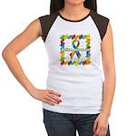 Square Autism Puzzle Ribbon Women's Cap Sleeve T-S