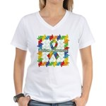 Square Autism Puzzle Ribbon Women's V-Neck T-Shirt