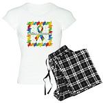 Square Autism Puzzle Ribbon Women's Light Pajamas