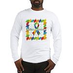 Square Autism Puzzle Ribbon Long Sleeve T-Shirt