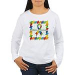 Square Autism Puzzle Ribbon Women's Long Sleeve T-