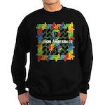 Square Autism Puzzle Ribbon Sweatshirt (dark)