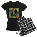 Square Autism Puzzle Ribbon Women's Dark Pajamas
