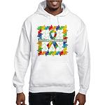 Square Autism Puzzle Ribbon Hooded Sweatshirt