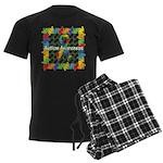 Square Autism Puzzle Ribbon Men's Dark Pajamas