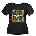Square Autism Puzzle Ribbon Women's Plus Size Scoo