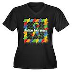 Square Autism Puzzle Ribbon Women's Plus Size V-Ne