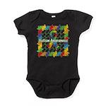 Square Autism Puzzle Ribbon Baby Bodysuit