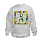 Square Autism Puzzle Ribbon Kids Sweatshirt