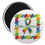 Square Autism Puzzle Ribbon Magnet