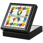 Square Autism Puzzle Ribbon Keepsake Box