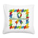 Square Autism Puzzle Ribbon Square Canvas Pillow