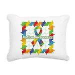 Square Autism Puzzle Ribbon Rectangular Canvas Pil