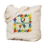 Square Autism Puzzle Ribbon Tote Bag