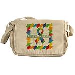 Square Autism Puzzle Ribbon Messenger Bag