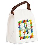 Square Autism Puzzle Ribbon Canvas Lunch Bag