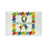 Square Autism Puzzle Ribbon Rectangle Magnet (100