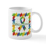 Square Autism Puzzle Ribbon Mug