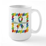 Square Autism Puzzle Ribbon Large Mug