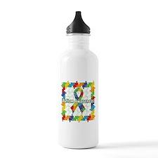 Square Autism Puzzle Ribbon Water Bottle