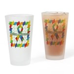 Square Autism Puzzle Ribbon Drinking Glass