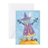 Halloween Witch With Cat Flags Greeting (Pk of 10)