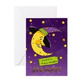 Goddaughter Halloween Card With Moon In Witches Ha