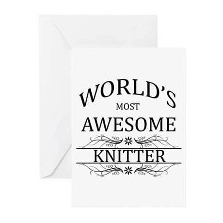 World's Most Awesome Knitter Greeting Cards (Pk of