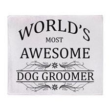 World's Most Awesome Dog Groomer Throw Blanket