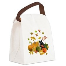 Black Cat Pumpkins Canvas Lunch Bag
