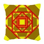 Brown Shield Design Woven Throw Pillow