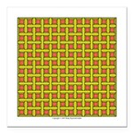 Yellow Latticework Square Car Magnet 3