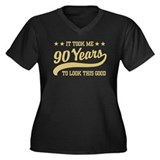 Funny 90th Birthday Women's Plus Size V-Neck Dark