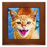 Krazy Kitten  Framed Tile