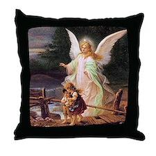 Guardian Angel with Children on Bridge Throw Pillo