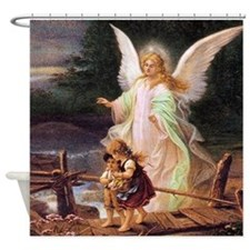 Guardian Angel with Children on Bridge Shower Curt