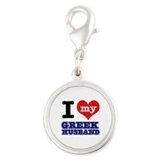 I love my Greek Husband Silver Round Charm