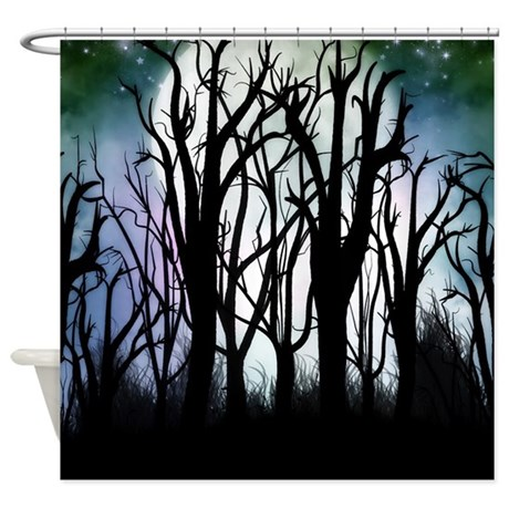 Enchanted silhouette forest green shower curtain by - Forest green shower curtain ...