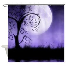 Enchanted-Silhouette-Tree-Purple Shower Curtain