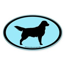 Golden Retriever Oval (blk on blue) Oval Decal