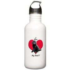 Black Golden Doodle Love Dad Water Bottle