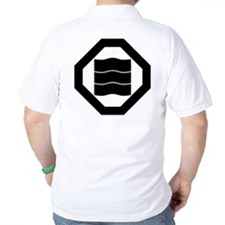 Wave-shaped Kanji characters for three T-Shirt