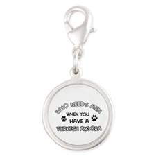 Funny Turkish Angora designs Silver Round Charm