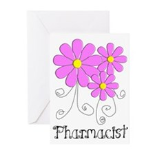 Pharmacist Blue Pink Flower Greeting Cards (Pk of