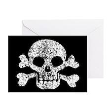 Worn Skull And Crossbones Greeting Cards (Pk of 20