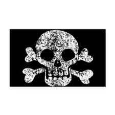 Worn Skull And Crossbones Rectangle Car Magnet