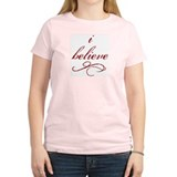 I Believe (fancy) Women's Pink T-Shirt