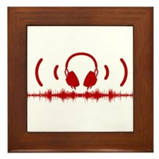 Headphones with Soundwaves and Audio in Red Framed