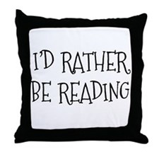 Rather Be Reading Playful Throw Pillow
